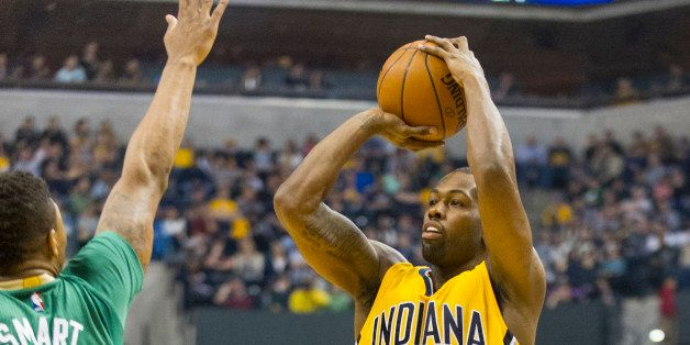 Indiana Pacers guard Rodney Stuckey (2) shoots against Boston Celtics guard Marcus Smart (36) during the first half of an NBA