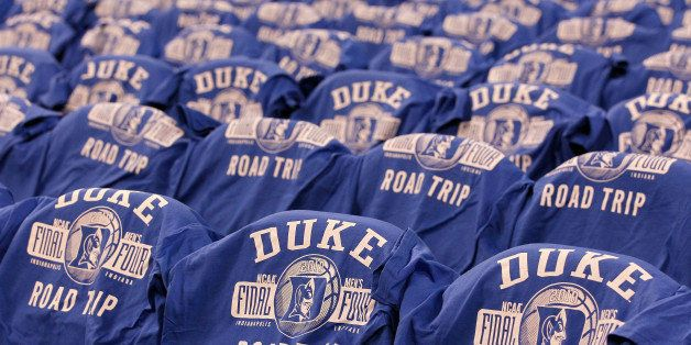 INDIANAPOLIS - APRIL 03:  Final four t-shirts with the logo of the Duke Blue Devils are seen on the backs of chairs against t