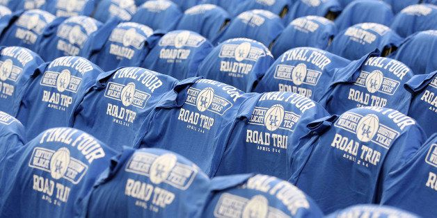 HOUSTON, TX - APRIL 02:  Kentucky Wildcats shirts are displayed on the student seats before the National Semifinal game of th