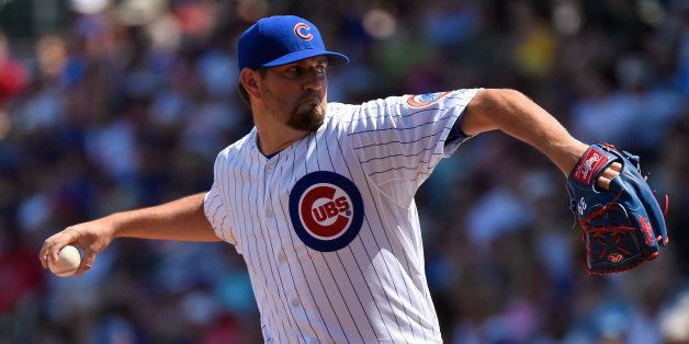 MESA, AZ - MARCH 22:  Jason Hammel #39 of the the Chicago Cubs pitches against the San Diego Padres at Sloan Park on March 22
