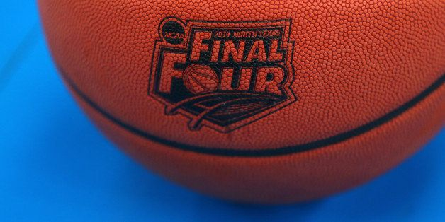 ARLINGTON, TX - APRIL 04:  The Wilson basketball with the Final Four logo is seen as the Kentucky Wildcats practice ahead of