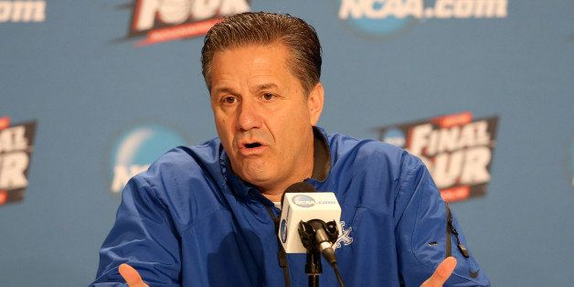 INDIANAPOLIS, IN - APRIL 02:  Head coach John Calipari of the Kentucky Wildcats addresses the media during a press conference