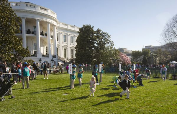 Thousands of children gathered at the White House for the annual Easter Egg Roll.