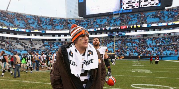 CHARLOTTE, NC - DECEMBER 21: The injured  Johnny Manziel #2 of the Cleveland Browns leaves the field after a 17-13 loss to th