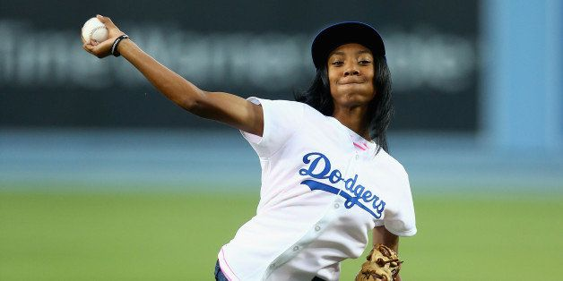 LOS ANGELES, CA - SEPTEMBER 02:  Little League Baseball pitcher Mo'ne Davis throws out the ceremonial first pitch prior to th