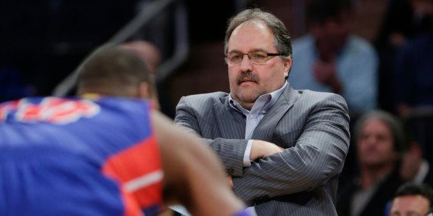 Detroit Pistons  coach Stan Van Gundy watches his team play during the first half of an NBA basketball game against the New Y