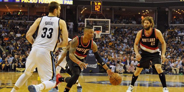 MEMPHIS, TN - APRIL 19:  Damian Lillard #0 of the Portland Trailblazers plays against the Memphis Grizzlies during Game One o