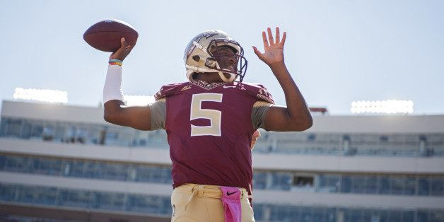 TALLAHASSEE, FL - OCTOBER 4: Quarterback Jameis Winston #5 of the Florida State Seminoles warms up prior to the game against