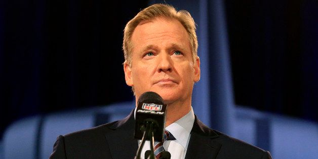PHOENIX, AZ - JANUARY 30:  NFL Commissioner Roger Goodell speaks during a press conference prior to the upcoming Super Bowl X