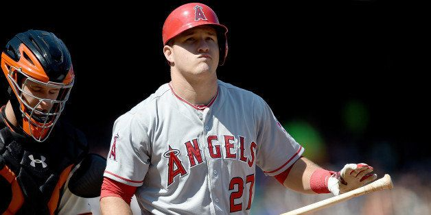 SAN FRANCISCO, CA - MAY 03: Mike Trout #27 of the Los Angeles Angels of Anaheim reacts and walks back to the dugout after he