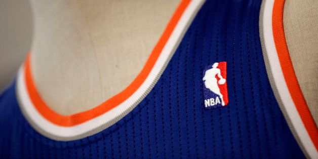 A detail showing the NBA logo on the New York Knicks new away game uniform that is displayed during a news conference, Thursd