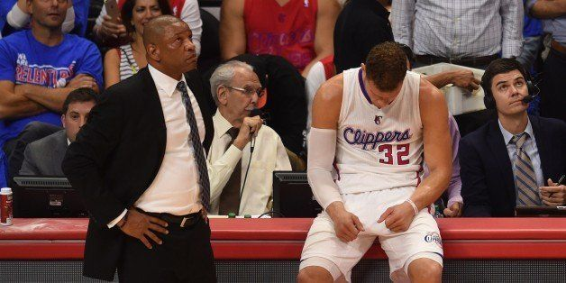 Coach Doc Rivers (L) and forward Blake Griffin of the Los Angeles Clippers (R) are pictured during game six against the Houst