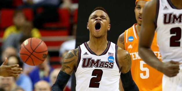 RALEIGH, NC - MARCH 21:  Derrick Gordon #2 of the Massachusetts Minutemen reacts while taking on the Tennessee Volunteers in