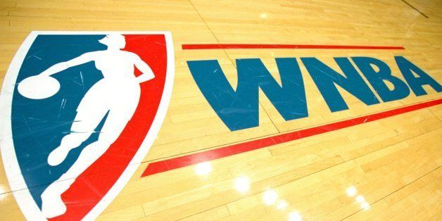 2 Jul 2000:  A view of the court WNBA Logo taken before a game between the Los Angeles Sparks and the Detroit Shock at the Gr