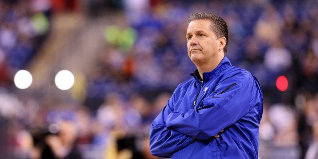 INDIANAPOLIS, IN - APRIL 03:  Head coach John Calipari of the Kentucky Wildcats looks on during practice for the NCAA Men's F