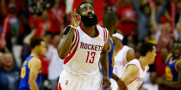 HOUSTON, TX - MAY 25:  James Harden #13 of the Houston Rockets reacts in the third quarter against the Golden State Warriors