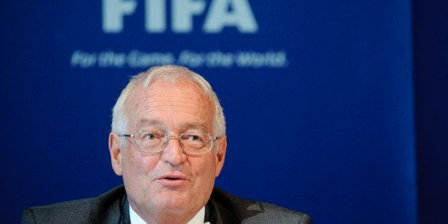 Hans-Joachim Eckert, Chairman of the adjudicatory chamber of the FIFA Ethics Committee, answers to journalists during a press