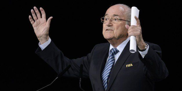 FIFA president Sepp Blatter gestures as he delivers his speech ahead of the vote to decide on the FIFA presidency in Zurich o