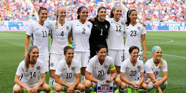 HARRISON, NJ - MAY 30:  The United States team poses for a team picture before the match against the South Korea during an in