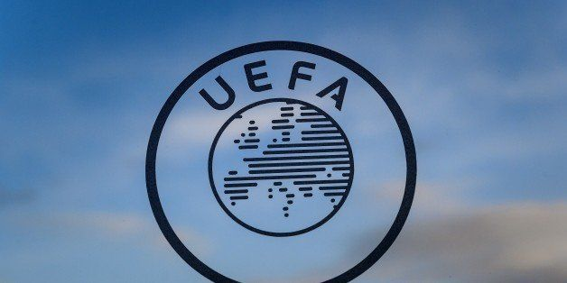 A logo of the UEFA the European football governing body is seen on December 15, 2014 at the UEFA headquarters in Nyon. AFP PH