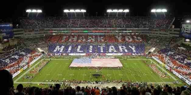 IN THIS IMAGE DISTRIBUTED BY AP IMAGES FOR USAA - An overall inside view of Raymond James Stadium as fans honor military and
