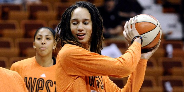 West's Brittney Griner, of the Phoenix Mercury, practices before the WNBA All-Star basketball game in Uncasville, Conn., Satu
