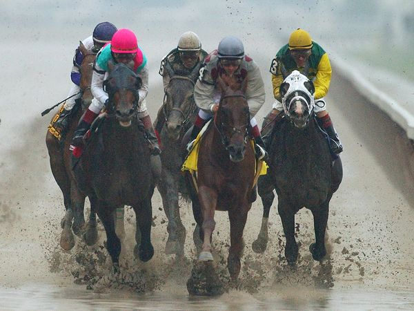 FILE - In this June 7, 2003, file photo, Funny Cide, second from right, with jockey Jose Santos up, leads the field of six ho