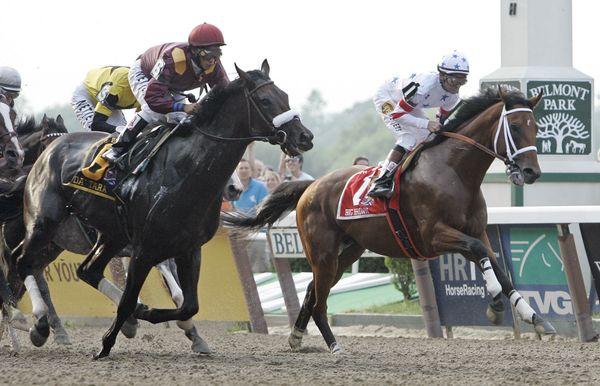 FILE - in this June 7, 2008, file photo, jockey Kent Desormeaux aboard Big Brown, right, and eventual winner Da' Tara, under