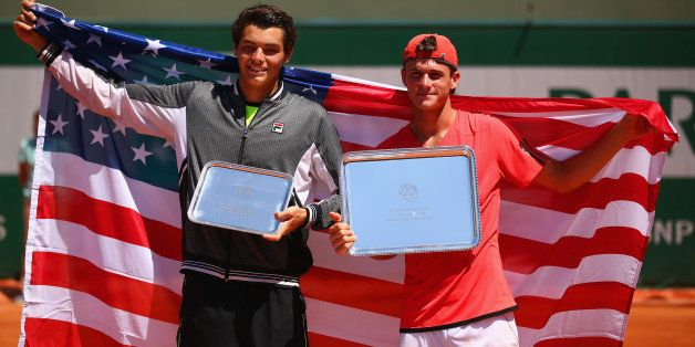 PARIS, FRANCE - JUNE 06:  (L-R) Runner up Taylor Harry Fritz of United States and winner Tommy Paul of the United States pose