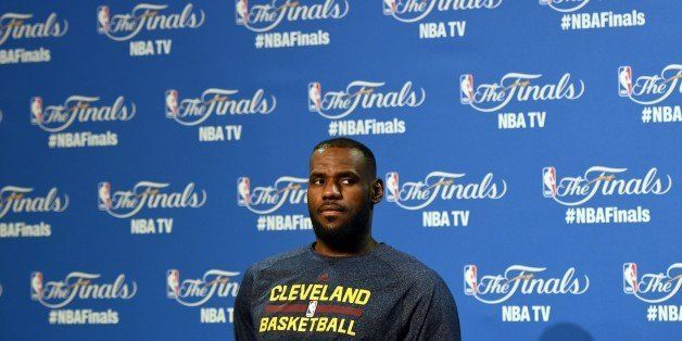 LeBron James of the Cleveland Cavaliers holds a press conference June 10, 2015 at the at Quicken Loans Arena in Cleveland, Oh