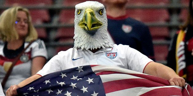 A supporter of the US team wears an American Eagle mask after the soccer friendly match between Germany and the United States
