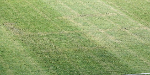 The pitch appearing to show the pattern of a swastika, following the Euro 2016 Group H qualifying soccer match between Croati