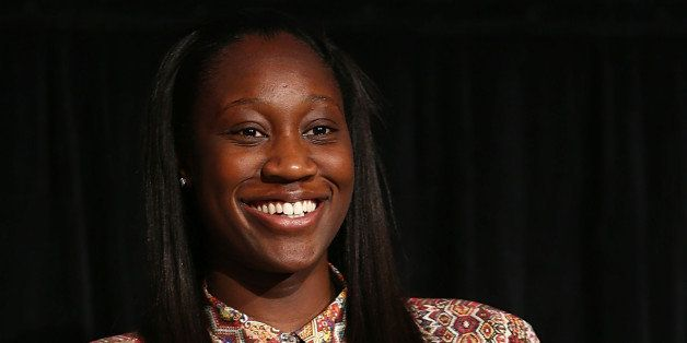 DANA POINT, CA - OCTOBER 09:  Basketball player Tina Charles speaks onstage at the 2013 espnW: Women + Sports Summit at St. R