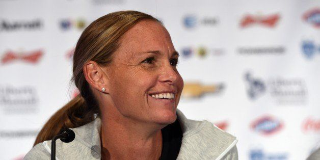 US Soccer team player Christie Rampone talks to the press during the US Women's National Team World Cup Media Day on May 27,