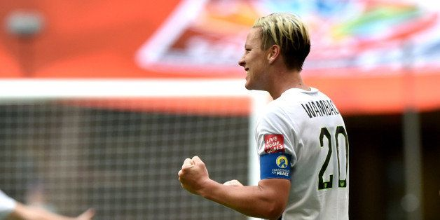 VANCOUVER, BC - JUNE 16:  Abby Wambach #20 of the United States celebrates scoring a goal in the first half against Nigeria i