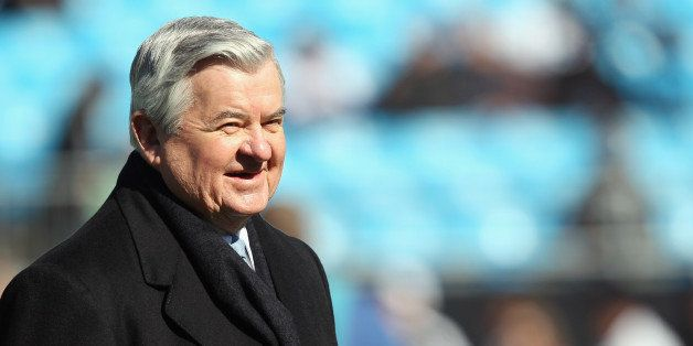 CHARLOTTE, NC - NOVEMBER 07:  Jerry Richardson, owner of the Carolina Panthers, watches on before the start of their game aga
