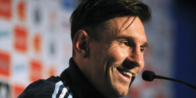 Argentinian football team player Lionel Messi smiles during a press conference in La Serena, Chile on June 9, 2015, ahead of