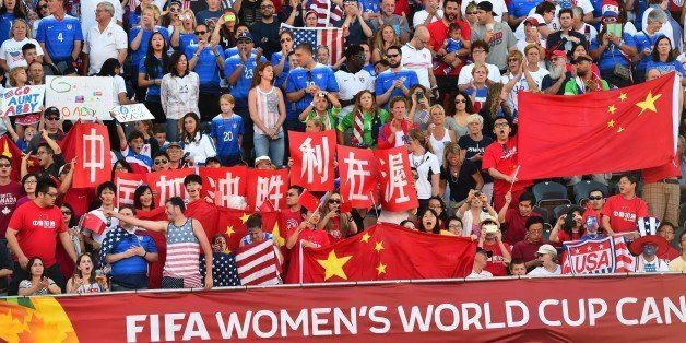 Fans of China and the US cheer before their  2015 FIFA Women's World Cup quarterfinal match between the US and China at Lansd