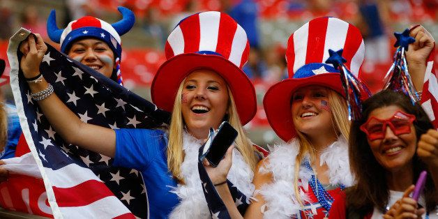 VANCOUVER, BC - JULY 05:  Fans of the United States watch warm-ups before the USA takes on Japan in the FIFA Women's World Cu