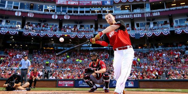 CINCINNATI, OH - JULY 13:  National League All-Star Todd Frazier #21 of the Cincinnati Reds bats during the Gillette Home Run