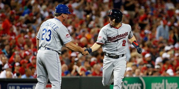 CINCINNATI, OH - JULY 14:  American League All-Star Brian Dozier #2 of the Minnesota Twins celebrates after hitting a solo ho