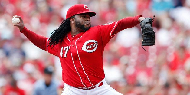 CINCINNATI, OH - JULY 19: Johnny Cueto #47 of the Cincinnati Reds pitches in the first inning against the Cleveland Indians a