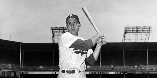Brooklyn Dodgers infielder Gil Hodges is shown in posed action in New York, May 10, 1951. (AP Photo/John Rooney)