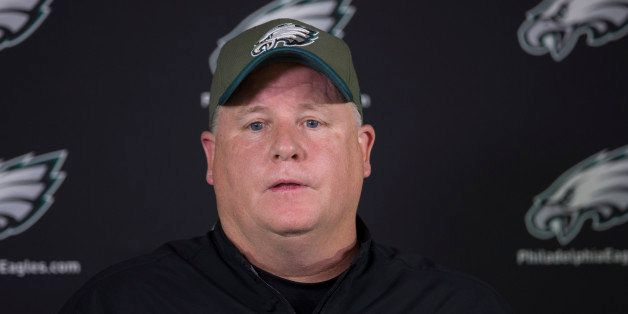 PHILADELPHIA, PA - MAY 28: Head coach Chip Kelly of the Philadelphia Eagles talks to the media prior to the start of the days