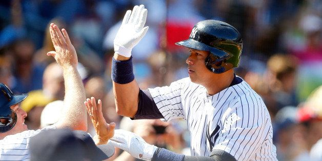 NEW YORK, NY - SEPTEMBER 06:  Alex Rodriguez #13 of the New York Yankees celebrates his sixth inning home run against the Tam