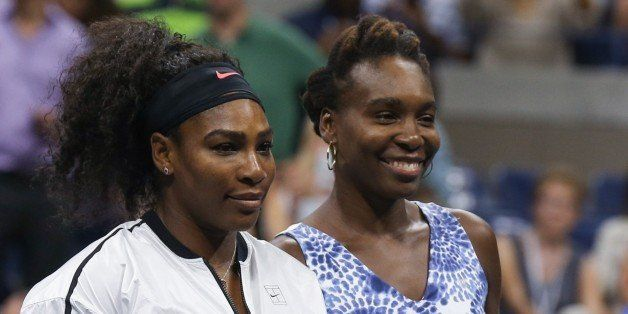 NEW YORK, NY - SEPTEMBER 08: Venus Williams of the United States (R) and Serena Williams of the United States pose prior to t