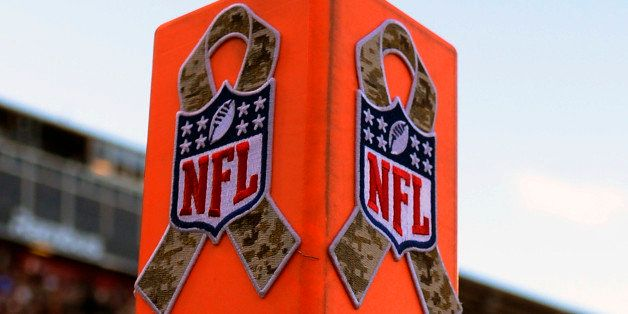 SAN FRANCISCO, CA - NOVEMBER 11:  A general view of an Endzone Pylon with the NFL logo and camouflage ribbon stuck on it, thi