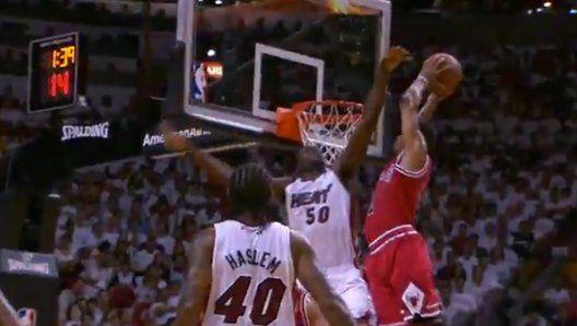 Derrick Rose Dunks On Joel Anthony In Heat-Bulls Game (VIDEO