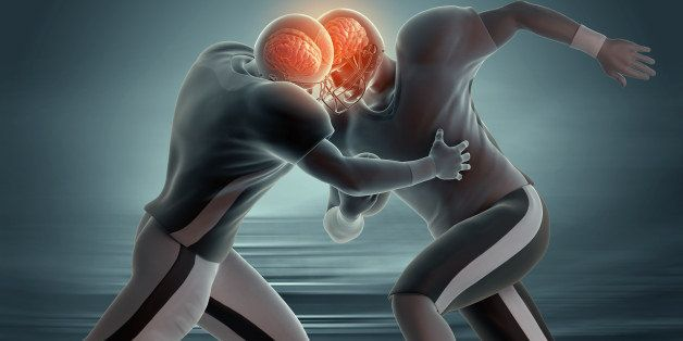 Two American football players colliding, with both brains visible through helmets.