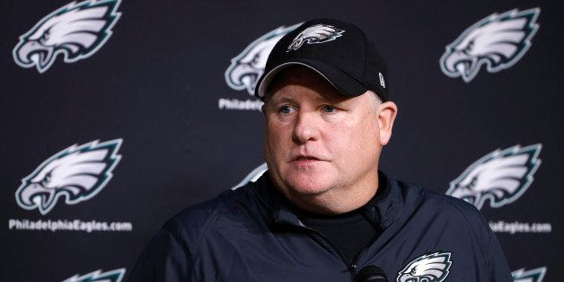 Philadelphia Eagles head coach Chip Kelly speaks with members of the media at the NFL football team's practice facility, Mond